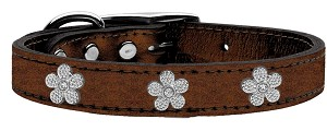 Silver Flower Widget Genuine Metallic Leather Dog Collar Bronze 24