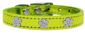 Silver Flower Widget Genuine Metallic Leather Dog Collar Lime Green 18