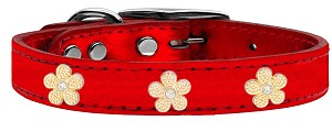 Gold Flower Widget Genuine Metallic Leather Dog Collar Red 12