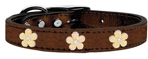 Gold Flower Widget Genuine Metallic Leather Dog Collar Bronze 12