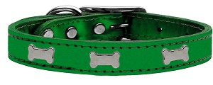 Silver Bone Widget Genuine Metallic Leather Dog Collar Emerald Green 12