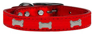 Silver Bone Widget Genuine Metallic Leather Dog Collar Red 16