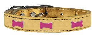 Pink Bone Widget Genuine Metallic Leather Dog Collar Gold 16