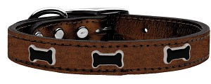 Black Bone Widget Genuine Metallic Leather Dog Collar Bronze 12