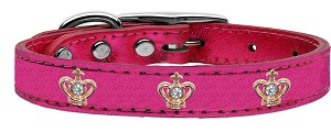 Gold Crown Widget Genuine Metallic Leather Dog Collar Pink 16