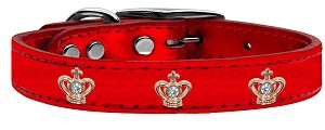 Gold Crown Widget Genuine Metallic Leather Dog Collar Red 12