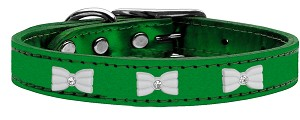 White Bow Widget Genuine Metallic Leather Dog Collar Emerald Green 16