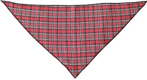 Red Plaid Tie-On Pet Bandana Size Small