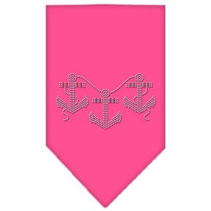Anchors Rhinestone Bandana Bright Pink Large