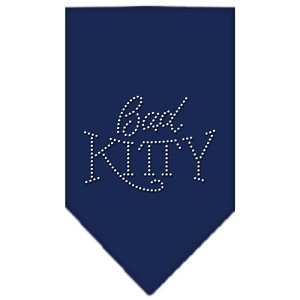 Bad Kitty Rhinestone Bandana Navy Blue Small