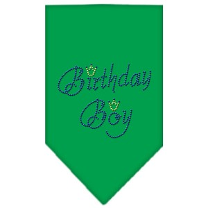Birthday Boy Rhinestone Bandana Emerald Green Large