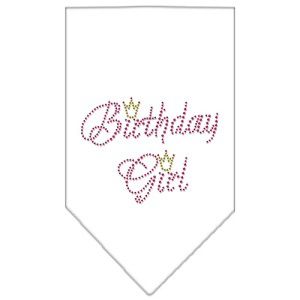 Birthday Girl Rhinestone Bandana White Small