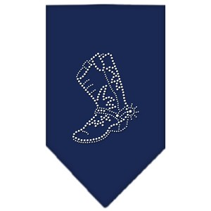 Boot Rhinestone Bandana Navy Blue Small
