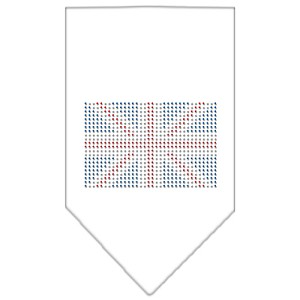 British Flag Rhinestone Bandana White Small