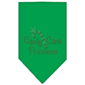 Candy Cane Princess Rhinestone Bandana Emerald Green Large