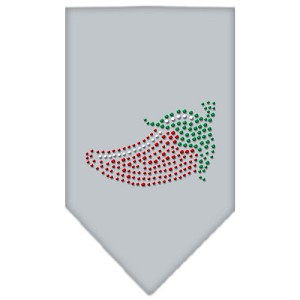 Chili Pepper Rhinestone Bandana Grey Small