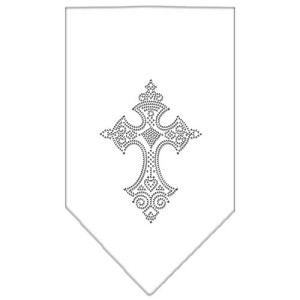 Cross Rhinestone Bandana White Small