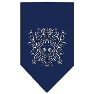 Fleur De Lis Shield Rhinestone Bandana Navy Blue Small