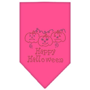 Happy Halloween Rhinestone Bandana Bright Pink Small