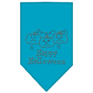Happy Halloween Rhinestone Bandana Turquoise Large