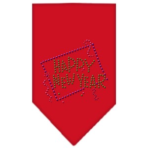 Happy New Year Rhinestone Bandana Red Small