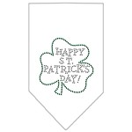 Happy St. Patricks Day Rhinestone Bandana White Small