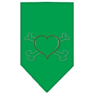 Heart Crossbone Rhinestone Bandana Emerald Green Small