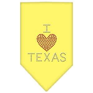 I Heart Texas Rhinestone Bandana Yellow Small