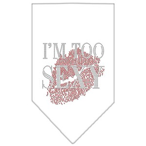 I'm Too Sexy Rhinestone Bandana White Small