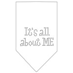 Its All About Me Rhinestone Bandana White Large