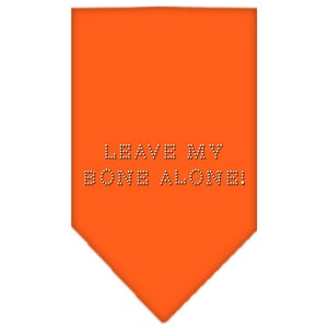 Leave My Bone Alone Rhinestone Bandana Orange Small
