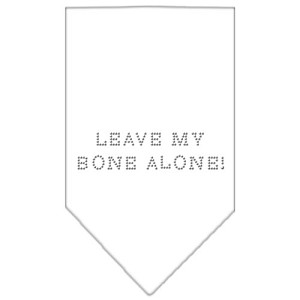 Leave My Bone Alone Rhinestone Bandana White Small