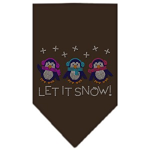 Let It Snow Penguins Rhinestone Bandana Cocoa Large