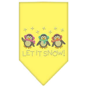 Let It Snow Penguins Rhinestone Bandana Yellow Small