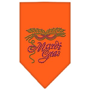 Mardi Gras Rhinestone Bandana Orange Large