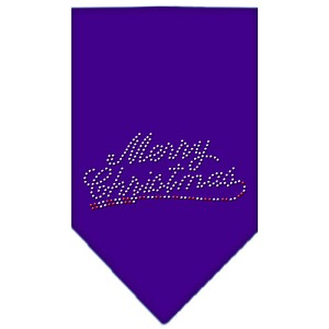 Merry Christmas Rhinestone Bandana Purple Small