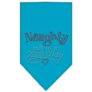 Naughty but in a Nice Way Rhinestone Bandana Turquoise Small