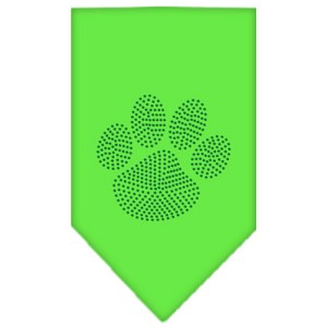 Paw Green Rhinestone Bandana Lime Green Small