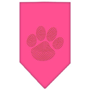 Paw Orange Rhinestone Bandana Bright Pink Large