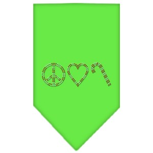 Peace Love Candy Cane Rhinestone Bandana Lime Green Large