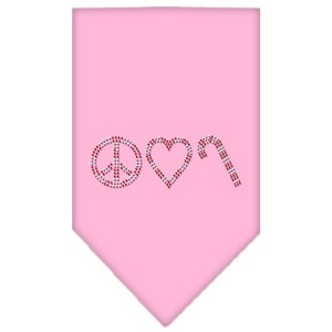 Peace Love Candy Cane Rhinestone Bandana Light Pink Small