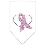 Pink Ribbon Rhinestone Bandana White Small