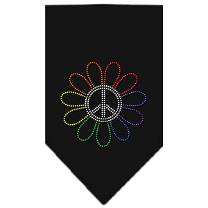 Rainbow Peace Flower Rhinestone Bandana Black Large