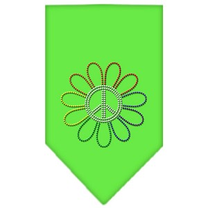 Rainbow Peace Flower Rhinestone Bandana Lime Green Large