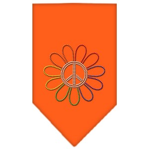 Rainbow Peace Flower Rhinestone Bandana Orange Small