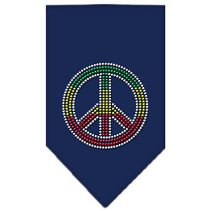 Rasta Peace Rhinestone Bandana Navy Blue Small