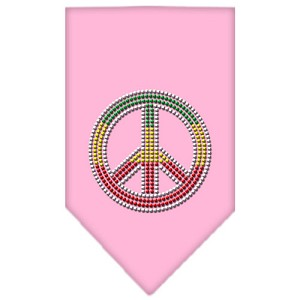 Rasta Peace Rhinestone Bandana Light Pink Large