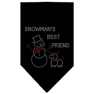 Snowman's Best Friend Rhinestone Bandana Black Small