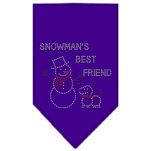 Snowman's Best Friend Rhinestone Bandana Purple Large