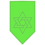 Star Of David Rhinestone Bandana Lime Green Small